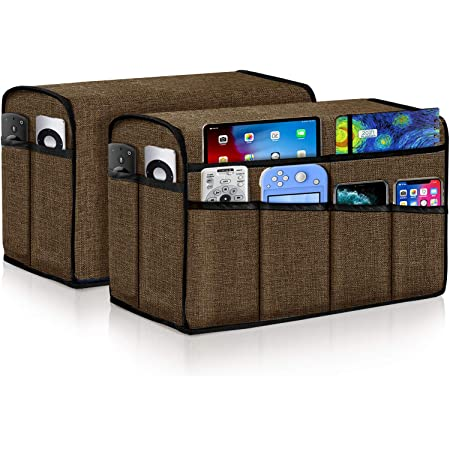 Pets iPad Guken Non Slip Armrest Covers with 8 Pockets for Sofa Lounge Armchair Caddy /& Organizer for Remote Control Cat Set of 2 Brown Phone Super Durable Recliner Arm Protector for Dog