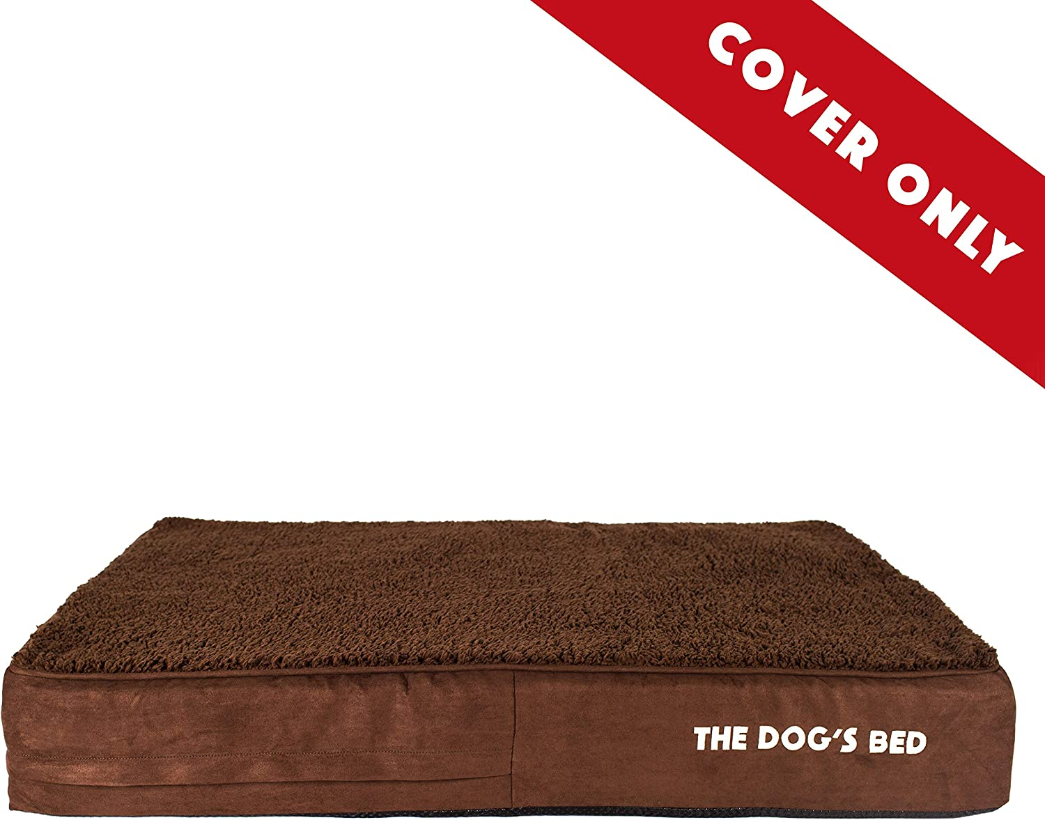 Replacement Outer Cover ONLY (Outer Cover ONLY  NO Bed, NO Waterproof Inner) for The Dog's Bed, Washable Quality Plush Fabric, Large 40  x 25  x 6  (Brown Plush)