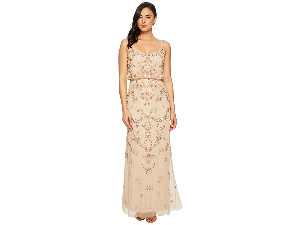 Adrianna Papell Antique Bead Blouson Bodice Gown (Champagne/Multi) Women