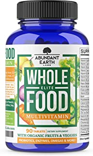 Whole Food Multivitamin Elite - Organic Multivitamin for Men and Women, Non-GMO Multivitamin with Probiotics, Enzymes, B-C...
