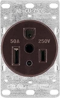 Eaton 1254 50-Amp 2-Pole 3-Wire 250-Volt Heavy Duty Grade Flush Mount Power Receptacle, Brown