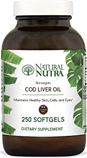 Natural Nutra Norwegian Cod Liver Oil Supplement, Arctic Fish Oil from The Nordic Region, Rich in Omega 3, EPA, DHA, Vitamin A and D, 250 Softgels