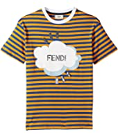 Fendi Kids - Short Sleeve Logo Graphic Striped T-Shirt (Little Kids)