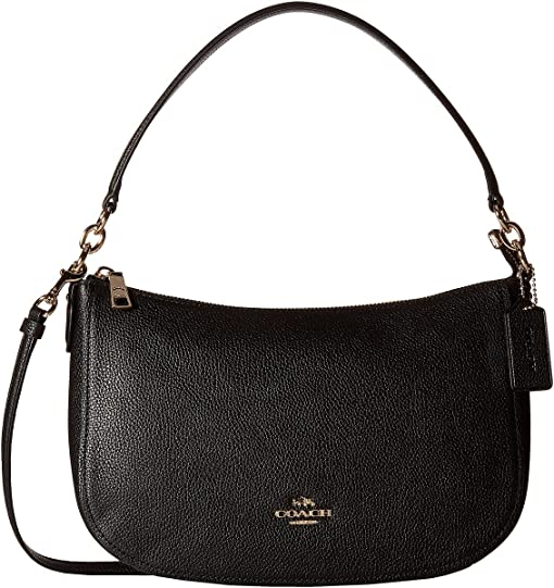 COACH Pebble Chelsea Crossbody,LI/Black