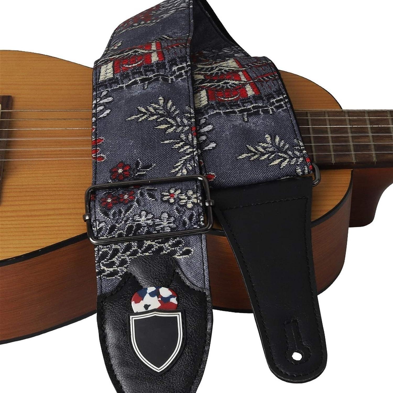 TFGUOqun Accesorios para Guitarra Diseño de esteticismo de Correa de Guitarra de Estilo japonés para la Guitarra eléctrica acústica bajo Ukulele para Guitarras acústicas y eléctricas (Color : Black)