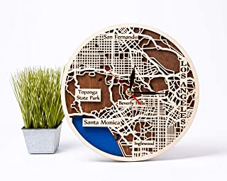 Los Angeles 12 Inch Wooden Clock Birthday Gift for Woman USA Gift Idea Wooden Wall Clock with Los Angeles Map Design City ...