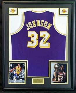3e3ef001b24 Signed Magic Johnson Jersey - LA Purple Custom Framed - JSA Certified -  Autographed NBA Jerseys
