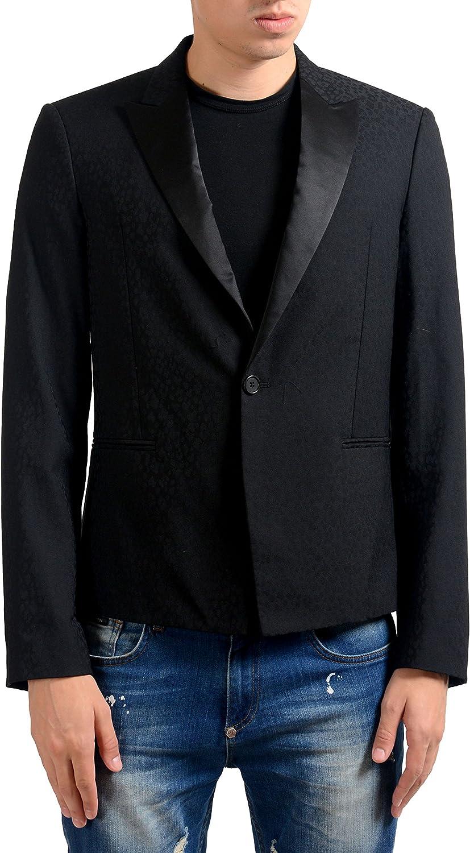 Just Cavalli Men's 100% Wool Black One Button Blazer Sport Coat US 38 IT 48