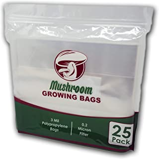 The Magnificent Bee All in One Mushroom Grow Bags (25 Count) | Oyster Spawn Growing Kit | 0.2' Micron Filter Grain Roots Bag | Large Size 8