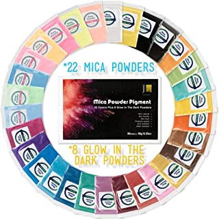 Mica Powder Pigment 22 Colors Plus 8 Glow in The Dark Powders [Huge 300g/10.58oz Set] for Soap Making,Bath Bombs,Epoxy Resin Dye,Slime Colorant-Natural Cosmetic Grade Pigments