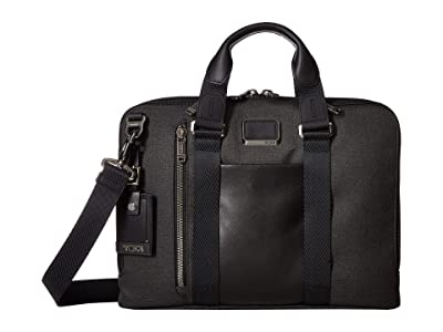 Tumi Alpha Bravo Aviano Leather Slim Brief (Graphite) Briefcase Bags