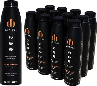 UPTIME – Blood Orange - Cane Sugar (12 Pack), Premium Energy Drink, 12oz Bottles, Natural Caffeine, Sparkling, Natural Flavors