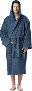 Men's Hooded Classic Bathrobe Turkish Cotton Robe with Full Length Options