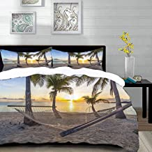"""bedding - Duvet Cover Set,Tropical,Paradise Beach with Hammock and Coconut Palm Trees Horizon Coast Vacation,Hypoallergenic Microfibre Duvet Cover Set Queen/Full 90""""x90"""" with 2 Pillowcase 20"""" x 26"""""""