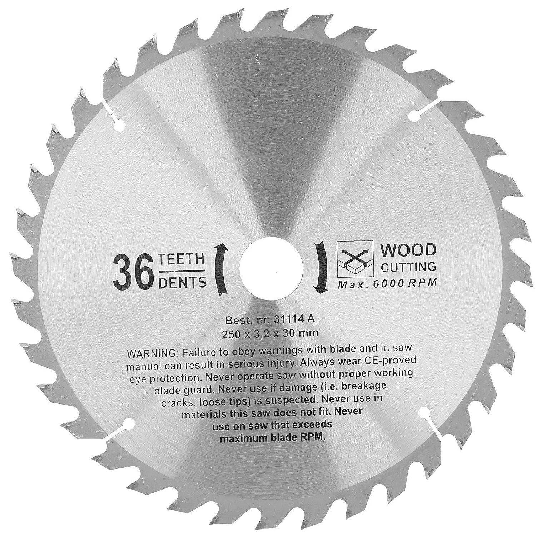 250 * 36T * 30 Hojas de sierra circular de carburo endurecido Disco de corte redondo de madera de 36 dientes Herramienta de corte para carpintería para procesamiento de madera