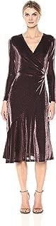 Women's Long Sleeve V Neck Midi Sheath Dress