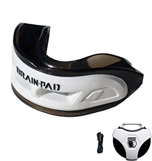 Brain-Pad 3XS Triple Laminated Mouthguard with Special Formulated Super Gel Pads, White/Black, Adult