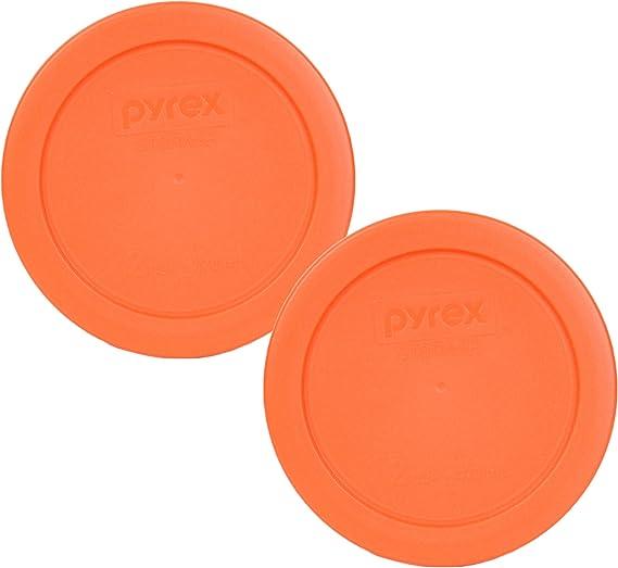 Pyrex 7200-PC 2 Cup Orange Round Plastic Lid - 2 Pack