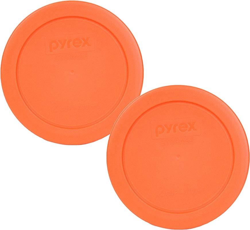 Pyrex 7200 PC 2 Cup Orange Round Plastic Lid 2 Pack