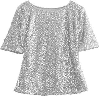 Ling-long Women Tee Shirts Off Shoulder Slim Loose Shirt Top Glistening Sequin T Shirt Boutique-in T