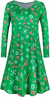 Ivicoer Women's Plus Size Christmas Print Casual Swing T-Shirt Dress with Pockets(L-5XL)