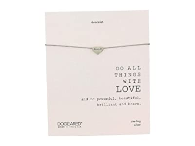 Dogeared Do All Things with Love Sliding Heart Pebble Bracelet (Sterling Silver) Charms Bracelet