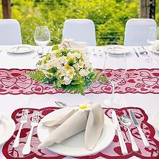 BIGKASI Camino de Mesa de Encaje Rojo 3PCS Mantel de San Valentín,Camino de Mesa San Valentín para Decoraciones Románticas...