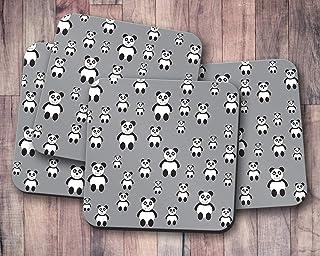 Posavasos grises con diseño de panda, posavasos individuales o juego de 4