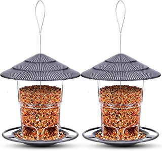 Bird Feeders Hanging, 2 Pack, eWonLife Wild Birds Feeder Squirrel Proof for Outside, Easy Clean and Fill, Adjustable Feede...