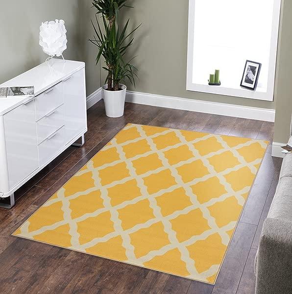 Sweethome Stores Clifton Collection Yellow Moroccan Trellis Design 5 X 6 6 Area Rug