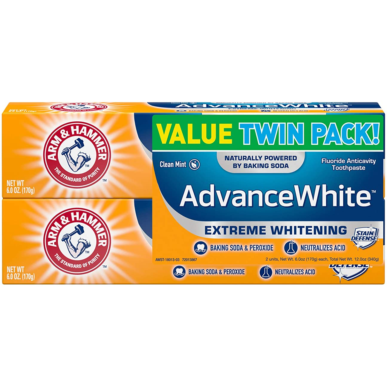 レギュラーめ言葉アレルギー性Arm & Hammer アーム&ハマー アドバンス ホワイト 歯磨き粉 2個パック Toothpaste with Baking Soda & Peroxide