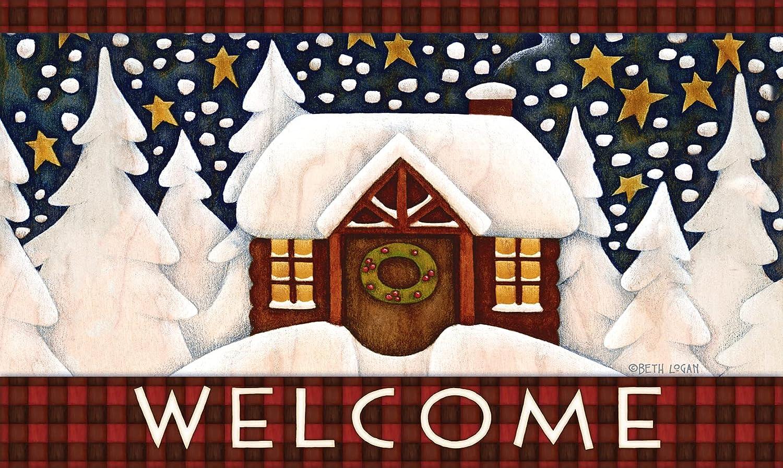 Toland security Home Garden Snowy Cabin 18 Inch Mat Ranking TOP2 30 Floor Decorative x