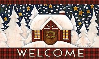 Toland Home Garden Snowy Cabin 18 x 30 Inch Decorative Floor Mat Outdoor Plaid Winter Snow Welcome Doormat - 800094