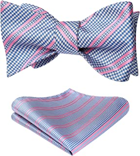 Men's Check Plaid Jacquard Self Tie Bow Tie Pocket Square Set Wedding Party