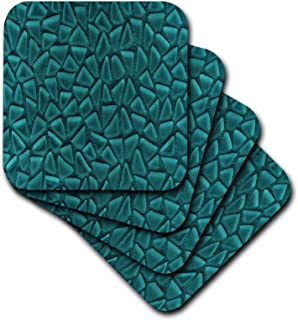 3dRose Teal Triangle Glass Mosaic Look - One Dimensional Design - Soft Coasters, Set of 8 (CST_124753_2)