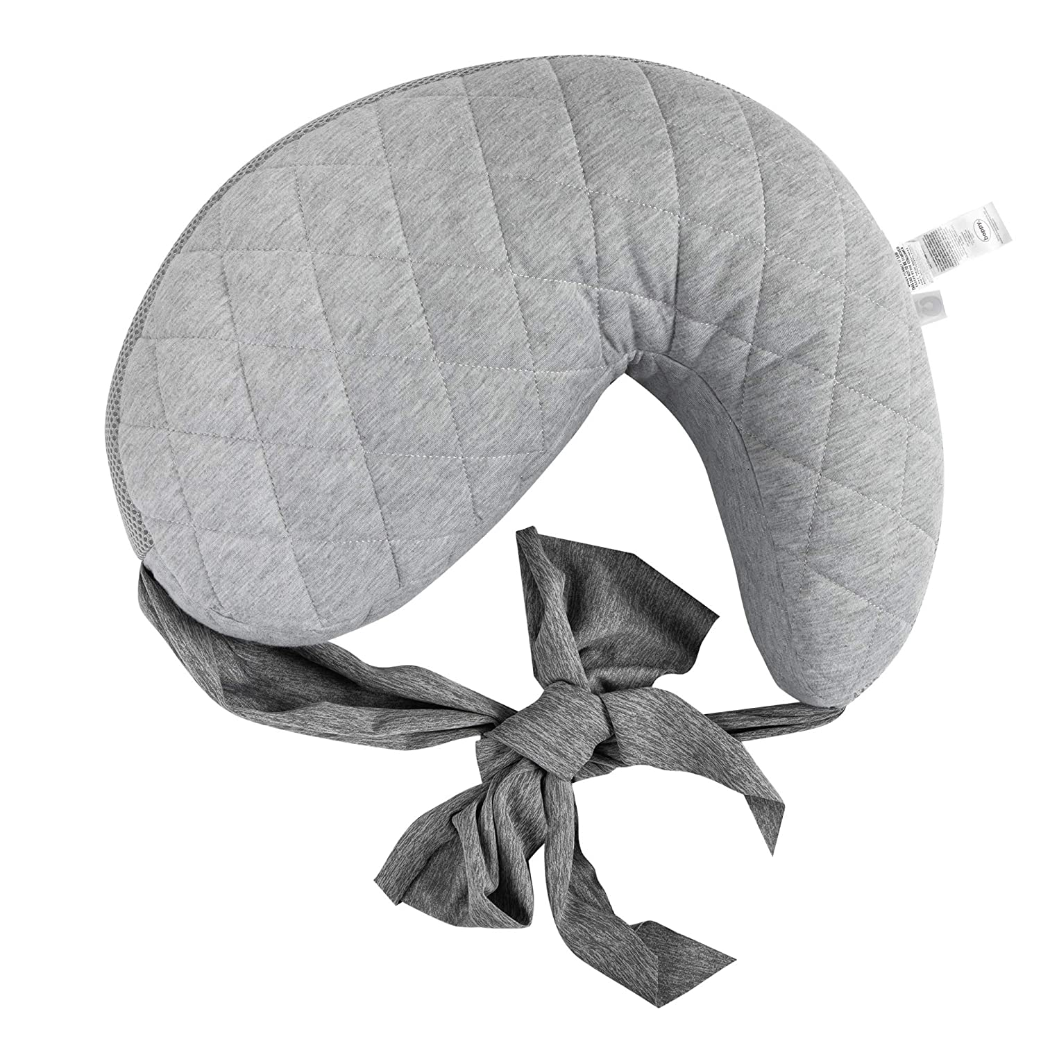 Boppy Anywhere Nursing Pillow | Breastfeeding and Bottle Feeding Support at Home and for Travel | Plus Sized to Petite| Machine Washable | Soft Quilted Gray with Stretch Belt
