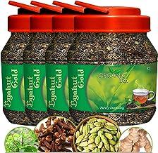 Byahut Gold Ginger & Tulsi Flavoured Real Darjeeling Organic Green Tea Leaves - 800g (200g x 4 Jars)