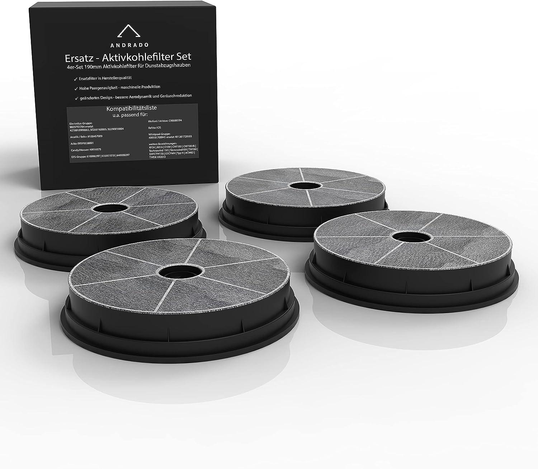 ANDRADO Juego de 4 filtros de carbón activo para campana extractora (190 mm/180 mm, universales, compatibles con Refsta K25, Electrolux, Beko, Arcelik, AEG