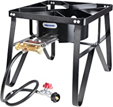Leaderware Single Burner Camping Cooker, Iron Camping Stove with Stand, Outdoor High-Pressure Gas/Propane Burner with Square Covers, High-Pressure Burner with Black Hose