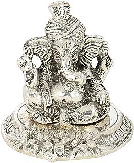 MSA JEWELS Metal Traditional Pagdi Ganesha, Silver, Metallic
