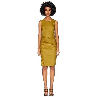 Nicole Miller Cross-Back Tuck Dress (Leaf) Women