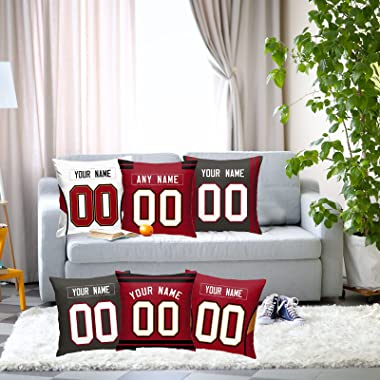 2 Pack Custom Football 18x18 Throw Pillow Decorative Couch Pillowcase Personalized Throw Pillow Covers Name & Number Birt