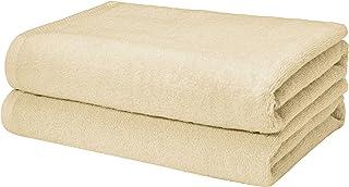 Amazon Basics Quick-Dry Bath Towels - 100% Cotton, 2-Pack, Linen
