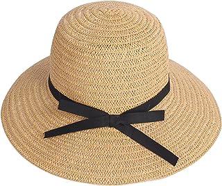 Miobo - Cappello estivo da donna, in paglia, con fiocco