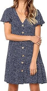 Women's Button Down Ruffle V Neck Polka Dot Loose Short T Shirt Mini Dress
