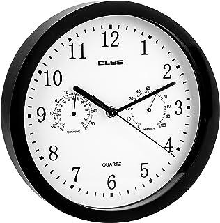 Elbe Reloj de Pared con termómetro e higrómetro, Mide Temperatura y Humedad, 25 cm diámetro, Panel Blanco Marco Negro, Funciona con Pilas