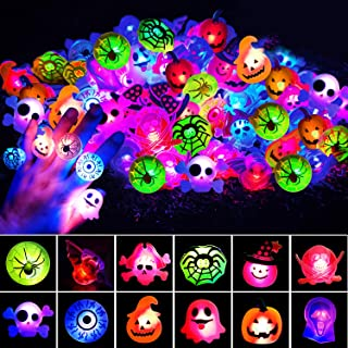 U-Goforst UPGRATED 72 pcs Halloween LED Ring Halloween Party Favor Light Up Glow in The Dark Party Supplies for Men Women ...