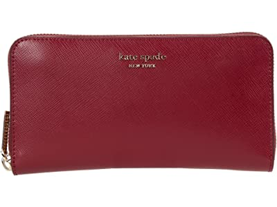Kate Spade New York Spencer Zip Around Continental Wallet (Red Currant) Wallet