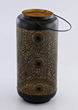 GRD Intl. Export Quality Perforated Tall Floor Lanterns Black & Gold, Perfect Home Decor