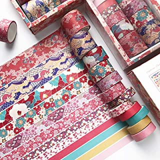 Doraking 12Rolls Japanese Style Decorative Red Flowers Washi Masking Tapes Set for Scrapbooking Gift Wrapping Decoration A...